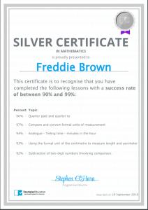 Exemplar Education Silver Certificate