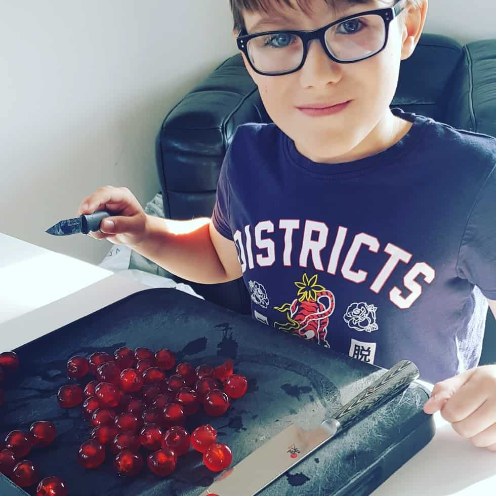Chopping the Cherries for the Christmas Cake
