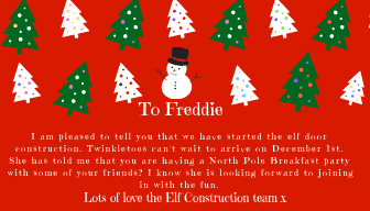 Letter from the elves explaining the elf door construction site