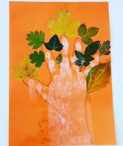 Leaf tree with hand print